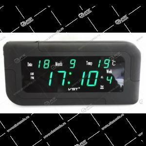 Часы настенные-дата-температура VST-739W/4 зеленый