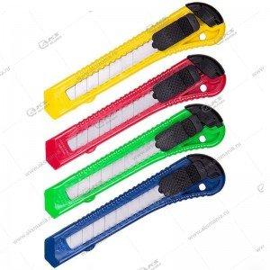 Нож канцелярский 18мм Attache с фиксатором, полибег, цв. в ассорт.