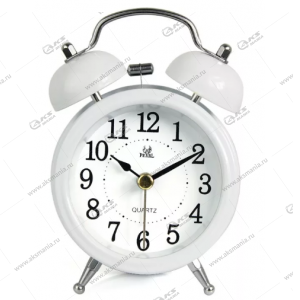 Часы 3010 будильник Quartz 11см белый
