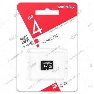 Карта памяти 4GB microSDHC class 10 SmartBuy без адаптера