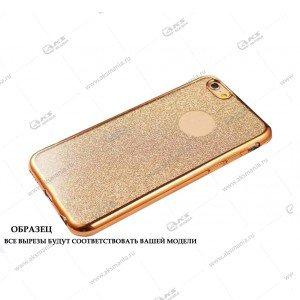 Силикон Samsung S8 кант блестки 2в1 золото