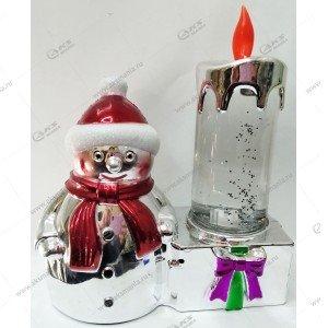 Светодиодная лампа Свеча со снеговиком серебро