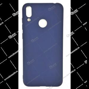 Силикон Huawei Honor 8C матовый синий с глянцевым ободом