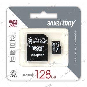 Карта памяти 128GB microSDXC class 10 SmartBuy с адаптером SD
