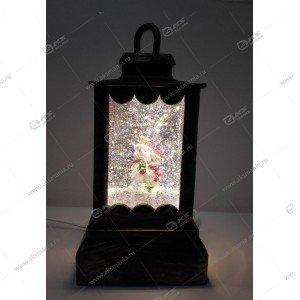 """Декоративный фонарь с эффектом снегопада и подсветкой """"Снеговик"""""""