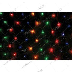Гирлянда сетка 3х2м силиконовый провод 320LED разноцвет.