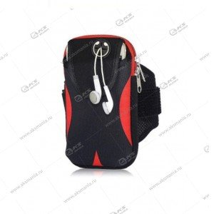 Спортивная чехол-сумка для бега для телефона на руку №2 черный с красным