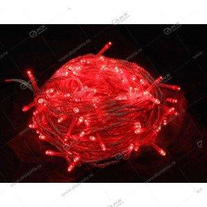 Гирлянда цветной провод 100LED красный