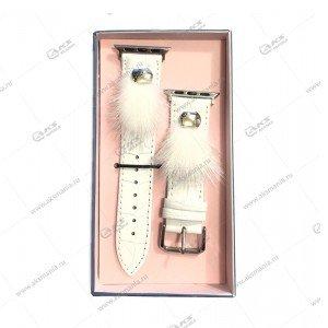 Ремешок кожаный с мехом для Apple Watch 38mm/ 40mm белый