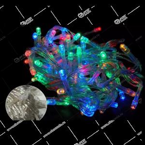Светодиодная гирлянда на батарейках силиконовый провод 5м разноцвет.