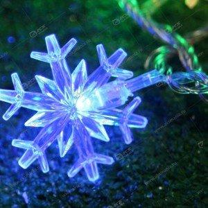 """Гирлянда """"Снежинки"""" 40 LED силиконовый провод банка разноцвет."""
