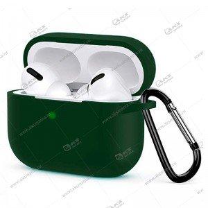 Силиконовый чехол для Airpods Pro с карабином темно-зеленый