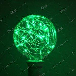 Светодиодная лампа с цоколем в коробке зеленый