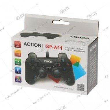 Gamepad проводной GP-A11 DIalog Action - вибрация, 12кнопок, USB, чёрный