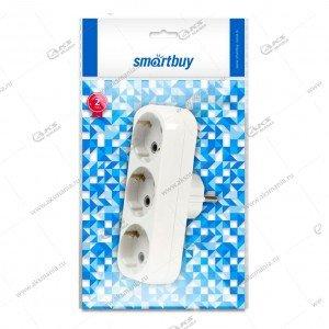 Сетевой разветвитель Smartbuy 3 гнезда с заземлением плоский белый (SBE-16-A02-3z)