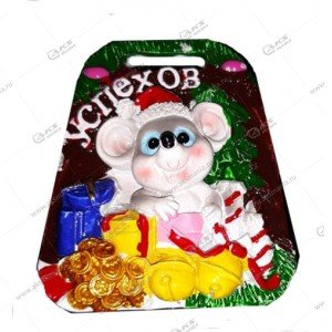 Магнит Мышь с подарками 6см-5см цвета разные