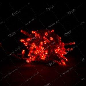 Гирлянда чёрный провод матовый круглый диод 200LED красный
