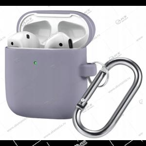 Силиконовый чехол для Airpods 2 с карабином Lavender Gray