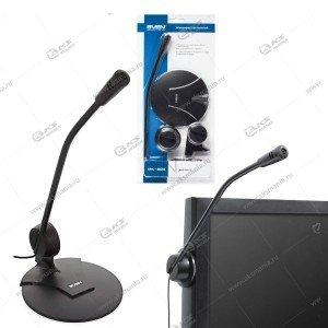 Sven Микрофон MK-200, держ. стол/монитор, кабель 1,8 м, разъём 3,5 мм, чёрный