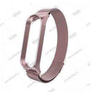 Ремешок на Mi Band 3/4 миланская петля Greatcase розовый
