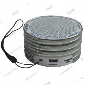 Колонка портативная  MINI Cl-669 BT FM TF USB  серебро
