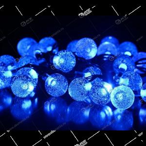 """Гирлянда уличная чёрный провод """"Шарики с пузырьками"""" 100LED бело-синий."""