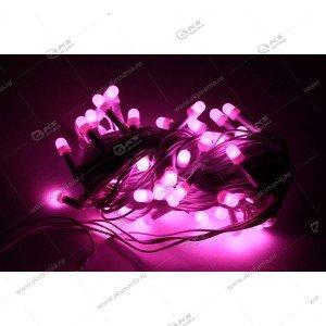 Гирлянда чёрный провод матовый круглый диод 200LED розовый
