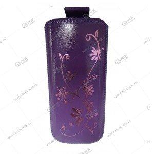 Чехол кожа с язычком (11х5,5см) la fleur эра фиолетовый