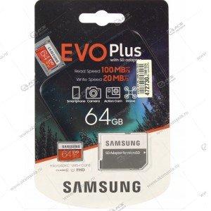 Карта памяти 64GB microSDXC class 10 Samsung Evo Plus U1 с адаптером