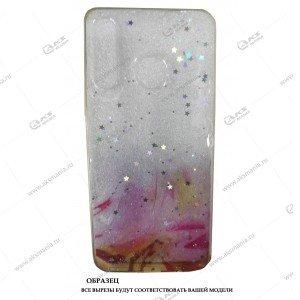 Силикон Huawei Honor 10 Lite прозрачный Акварель с блестками розовый