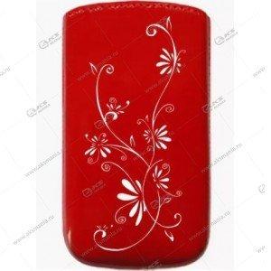 Чехол кожа с язычком (11х5,5см) la fleur эра красный