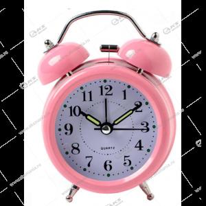 Часы 3010 будильник Quartz 11см розовый