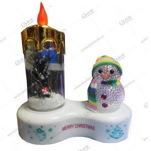 Светодиодная лампа Свеча со снеговиком золотой