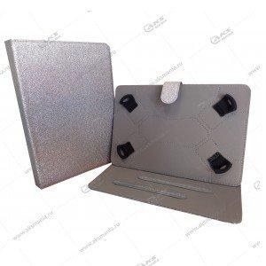 Чехол для планшета на скобках 7-8 блёстки серебро