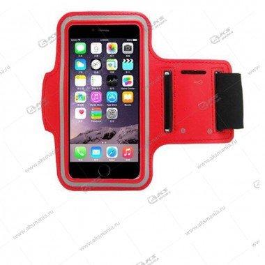 Спортивный чехол на руку с прозрачным окном iPhone 5 красный