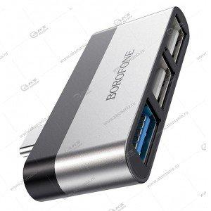 Переходник Borofone DH1 Type-C (папа) на USB3.0 + USB2.0*2 черный с серебром