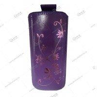 Чехол кожа с язычком (12,5х6,5см) la fleur эра фиолетовый