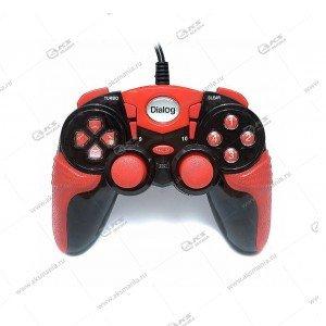 Gamepad проводной GP-A15 DIalog Action - вибрация, 12кнопок, USB, чёрно-красный