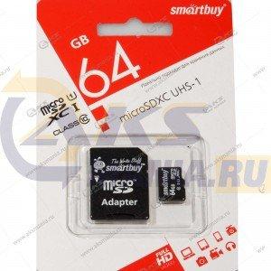 Карта памяти 64GB micro SDXC class 10 SmartBuy с адаптером SD