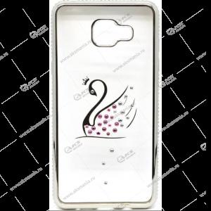 Силикон Samsung A5 (2016) стразы по кругу серебро лебедь