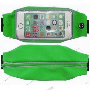 """Спортивная чехол-сумка """"Бананка"""" с прозрачным окном для телефона ярко-зеленая"""