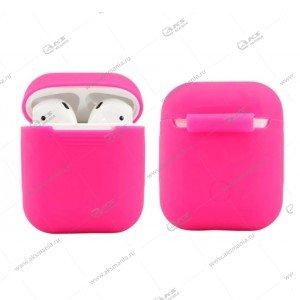 Силиконовый чехол в пакете для Airpods ярко-розовый