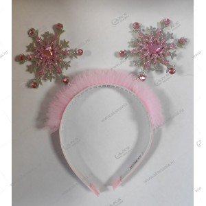 """Новогодний обруч на голову """"Снежинки"""" на пружинке розовый"""