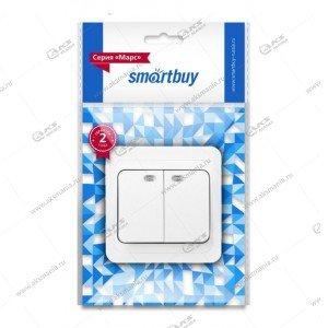 """Выключатель Smartbuy, скрыт. установ., 2-клавишн. 10A, белый, """"Венера"""" (SBE-01w-10-SW2-0-c)"""