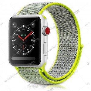 Ремешок нейлоновый для Apple Watch 38mm/ 40mm ярко-зеленый с серым