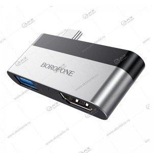 Переходник Borofone DH2 Type-C to HDMI+USB3.0 adapter