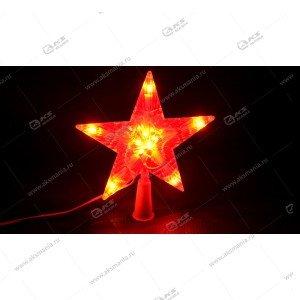 Светодиодная Звезда 25см на макушку ёлки красная