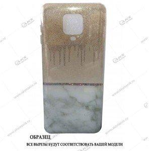 Силикон Huawei Honor 10i мрамор золотой с блестками