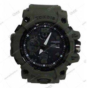 Наручные часы KASIO водонепроницаемые в пластике темно-зеленые