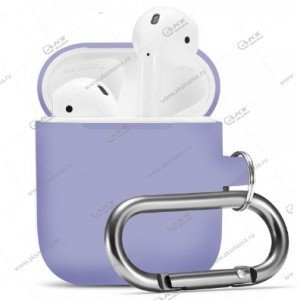 Силиконовый чехол для Airpods 2 с карабином Purple